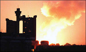 Belgrade in flames, after US/NATO bombing, June 1999. A reluctant lily pad?