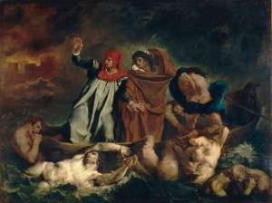 Eugène_Ferdinand_Victor_Delacroix_006 Dante and Vergil in hell