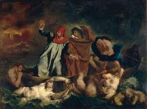 Eugène_Ferdinand_Victor_Delacroix_006 Dante and Vergil in hell